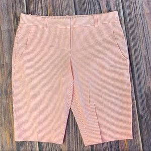 Theory Orange and White Seersucker Bermuda Shorts